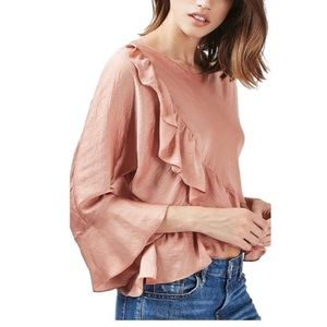 Topshop Ruffled Satin Rose Colored Blouse